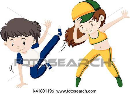 Man and woman doing hiphop dance Clipart.