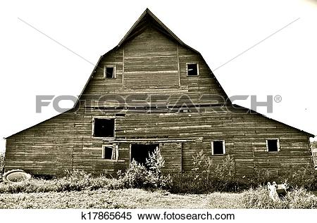 Stock Image of Front of a Hip Roof Barn k17865645.