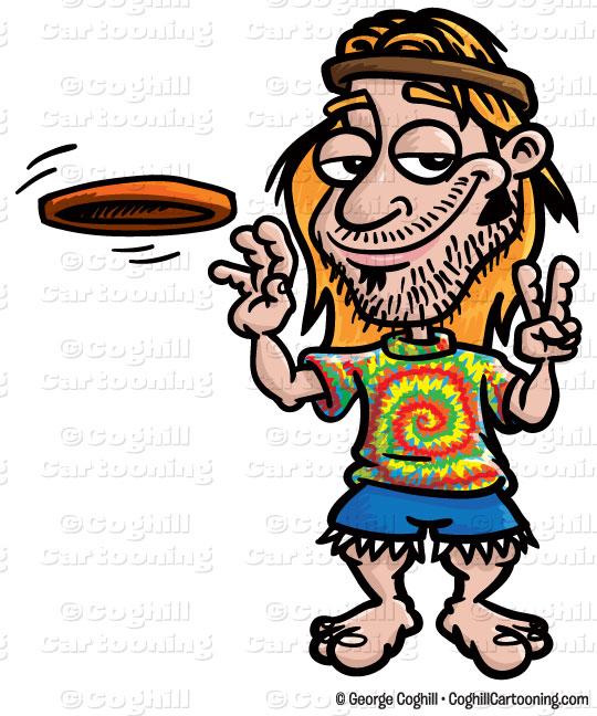 Cartoon Hippie Clip Art Stock Illustration.