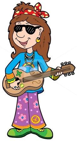 Cartoon hippie musician stock vector clipart, Cartoon hippie.