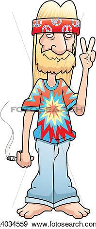 Clip Art of Hippie Peace Sign k4034559.