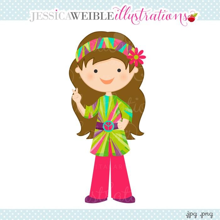 Clipart girl hippie.