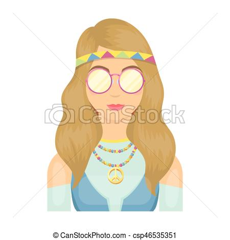 A hippie girl with glasses with beads.Hippy single icon in cartoon style  vector symbol stock illustration web..