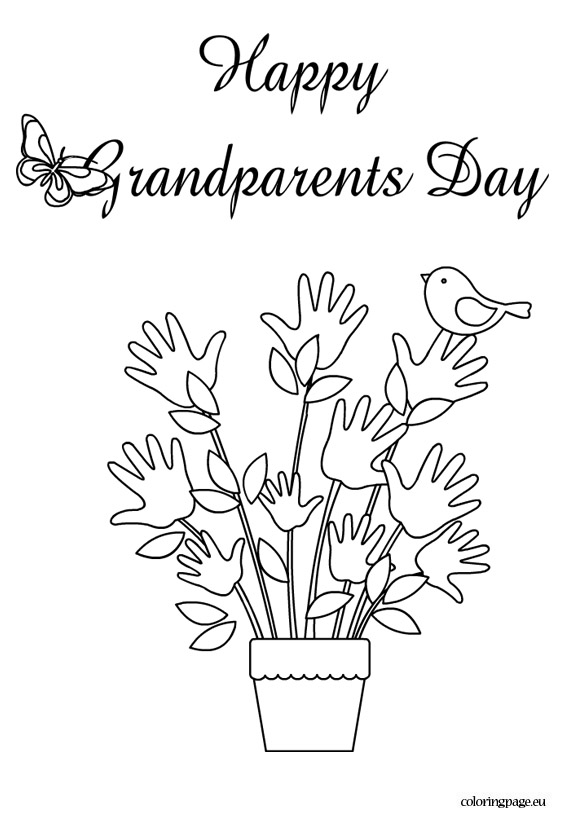 Happy grandparents day coloring page.