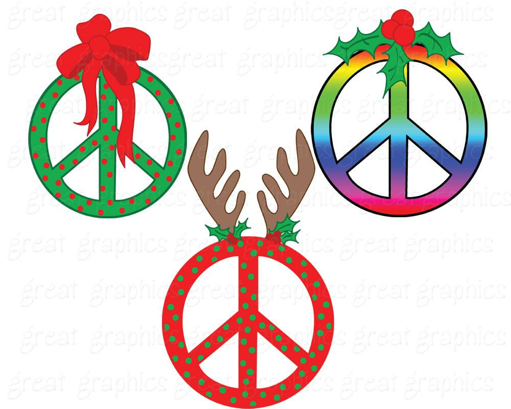 Christmas Clipart Peace Sign Clip Art Digital Clip Art.