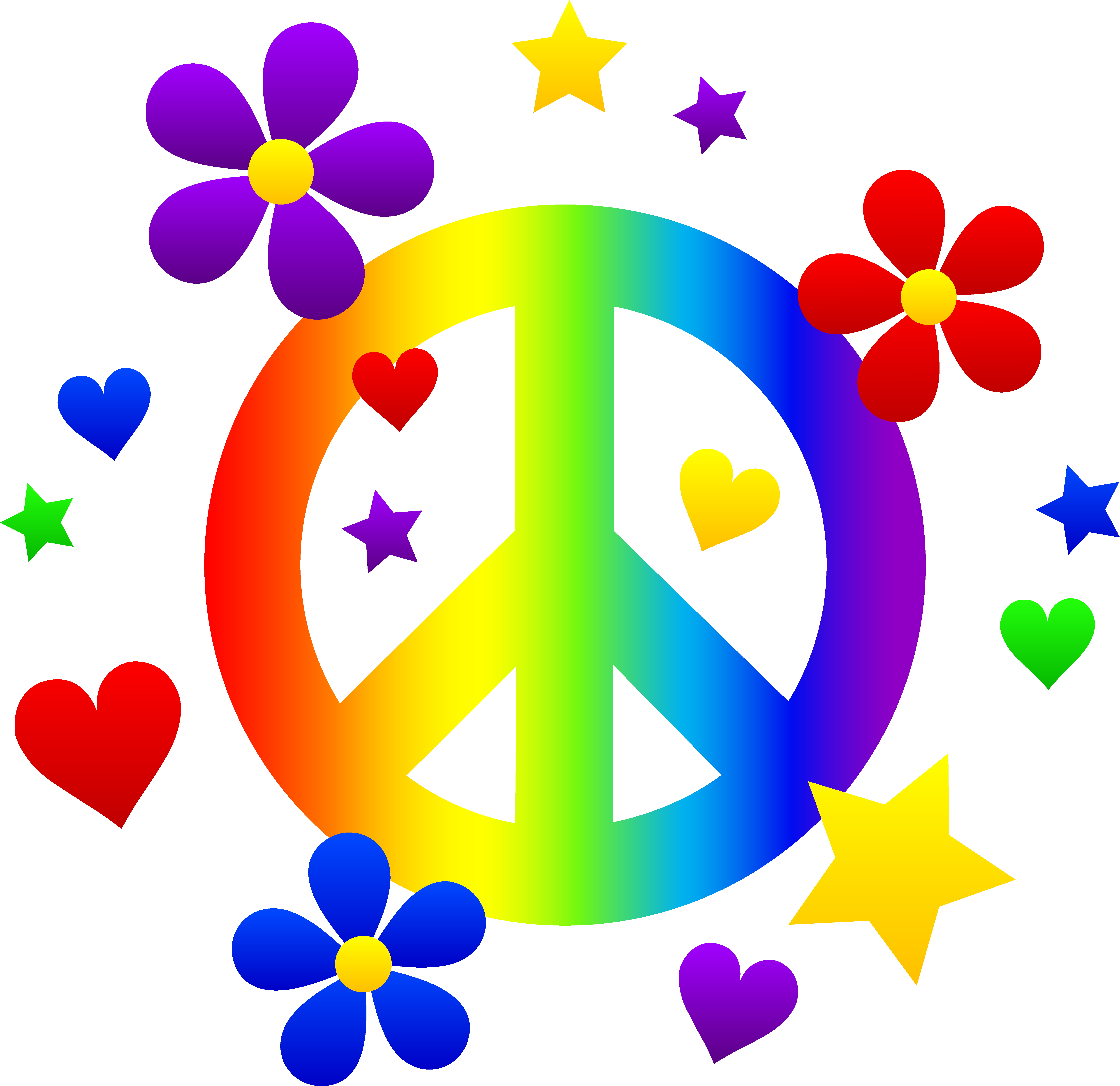 peace sign with flowers clipart #18