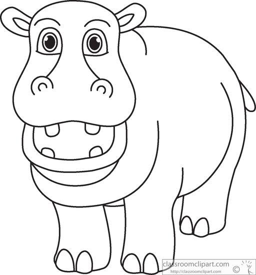 Black And White Clipart Hippo.