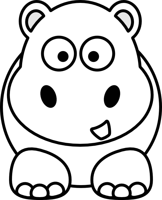 1293 Hippo free clipart.