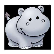 Cute baby hippo clipart.