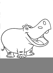 Hippo Clipart Black And White.