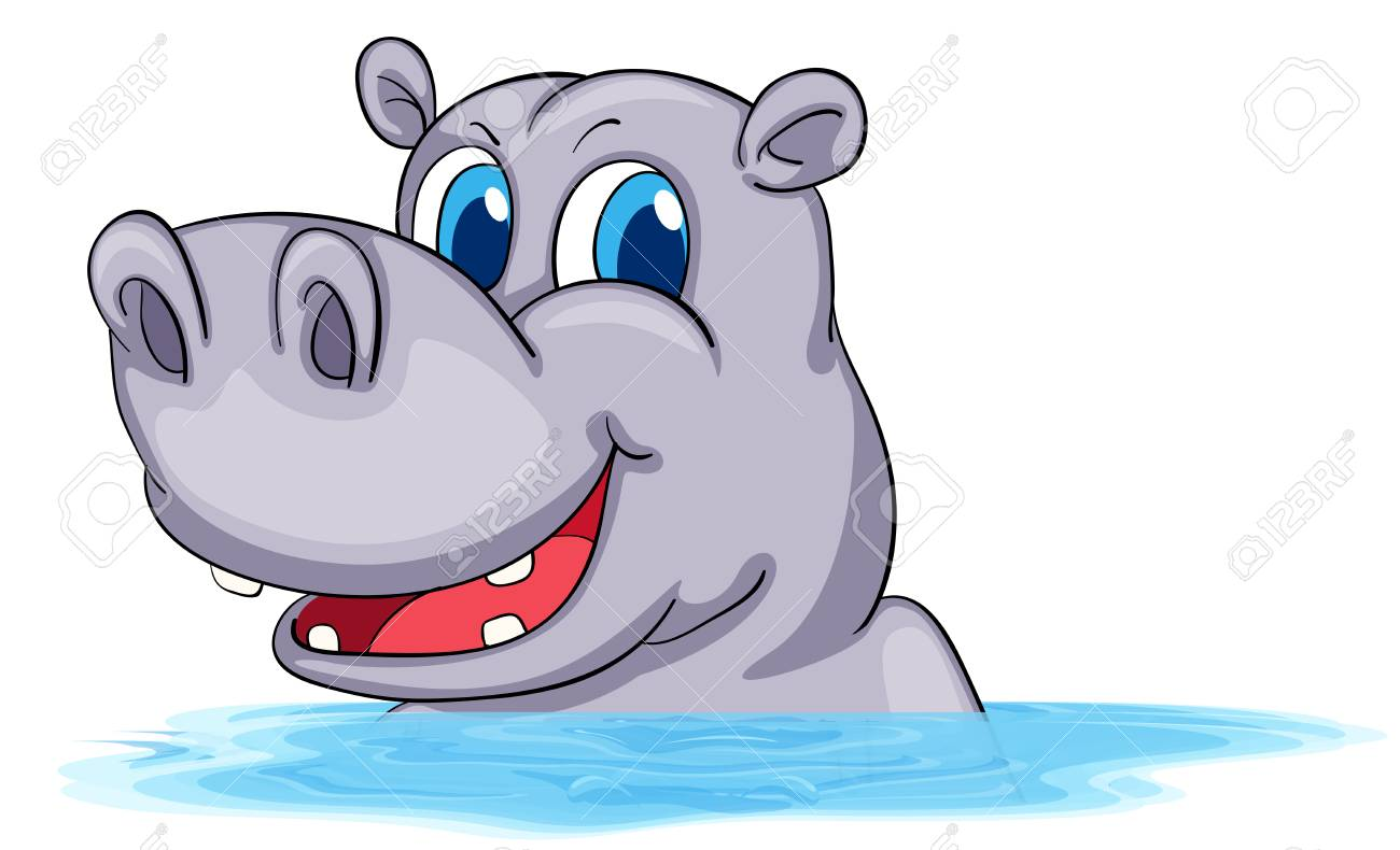 Hippo swimming in water illustration.