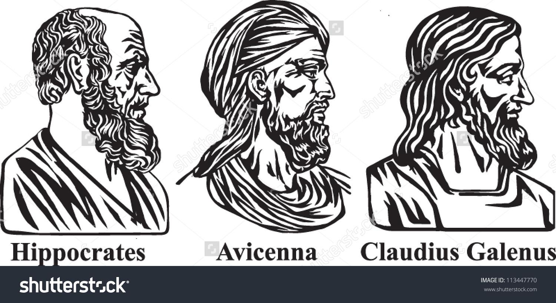 Ancient Physicians Hippocrates Avicenna Galen Stock Vector.
