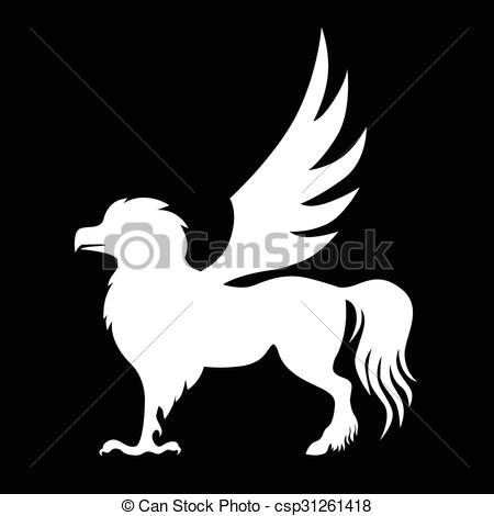 Silhouette hippogriff negative.