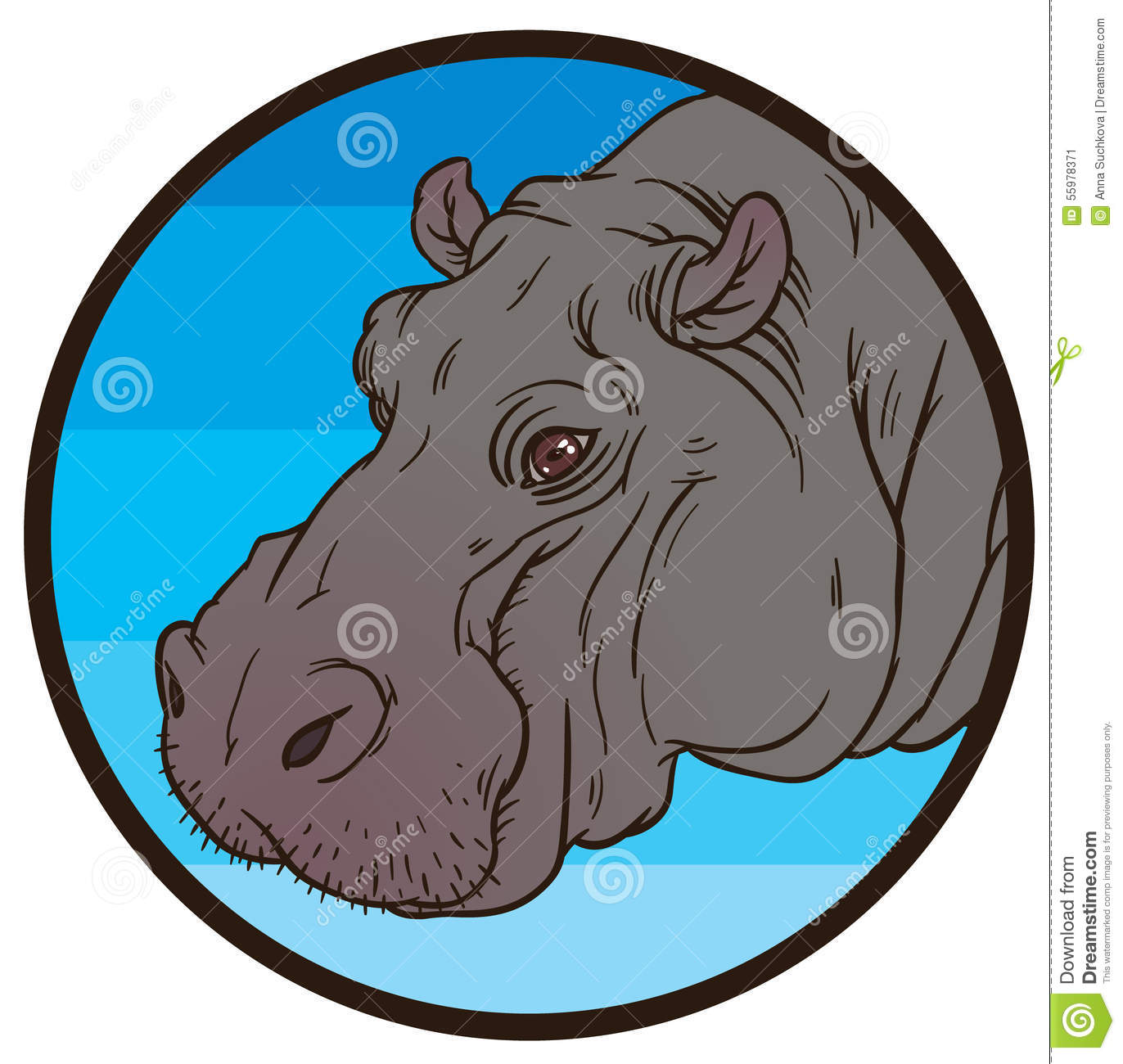 Hippopotamus Amphibius Or River Horse Stock Vector.