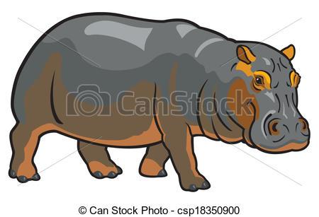 Vector Clipart of hippopotamus amphibius,africa animal,side view.