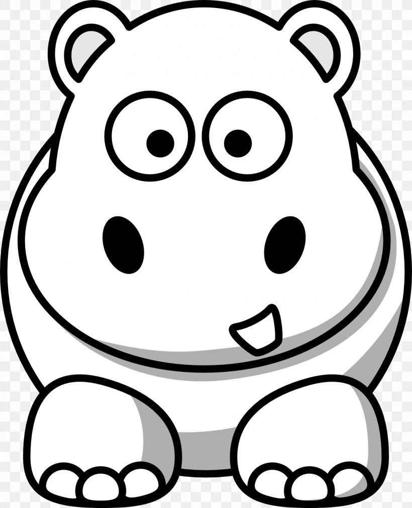 Hippopotamus Black And White Cartoon Clip Art, PNG.