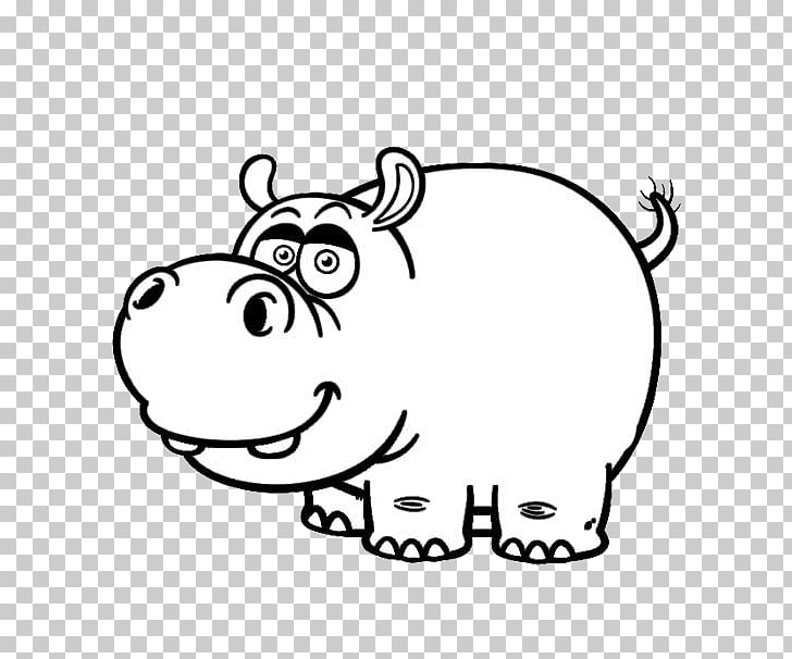 Hippopotamus Cartoon Drawing Black and white , Meng stay.
