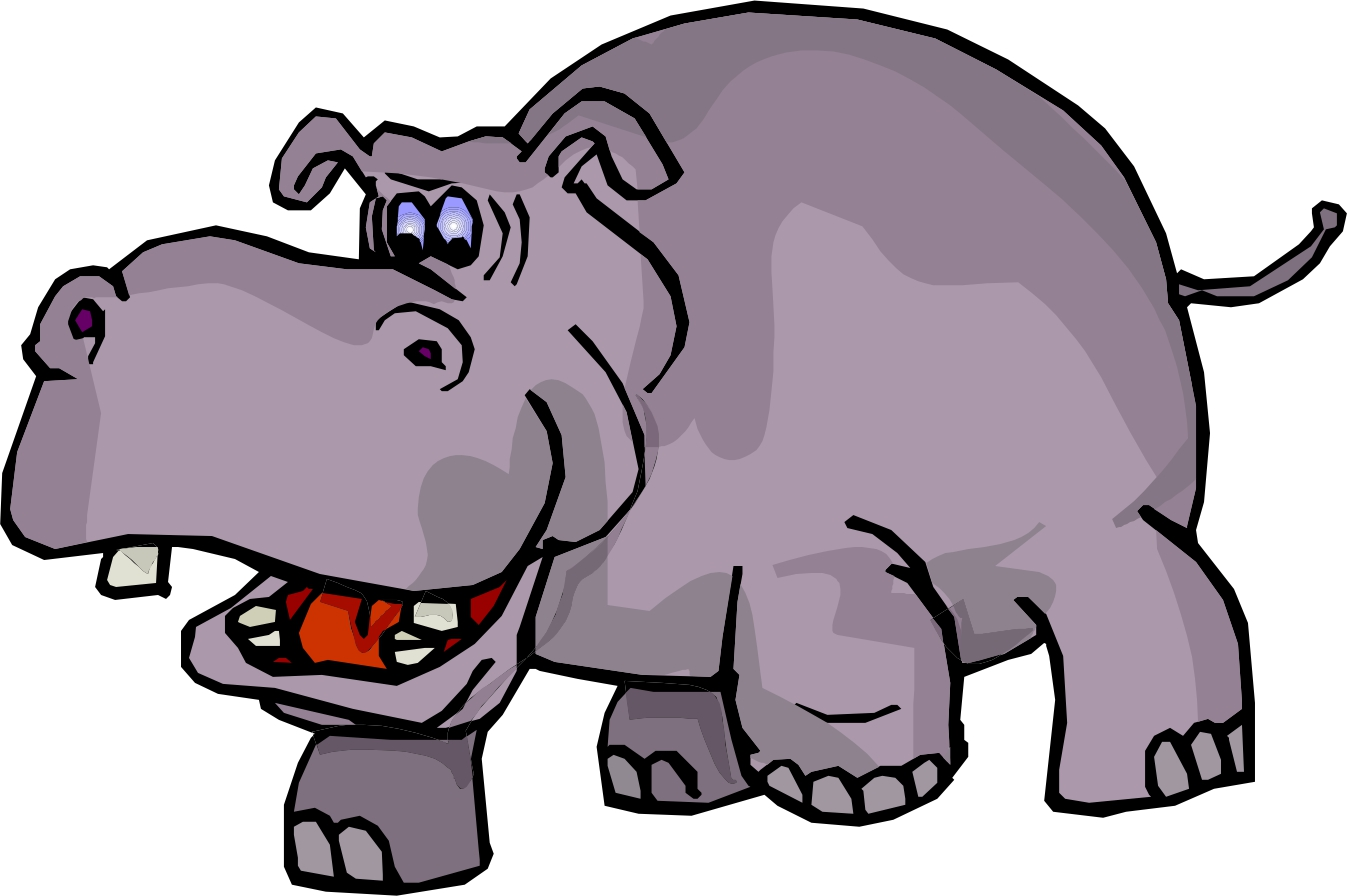 Hippo Clip Art Black And White.