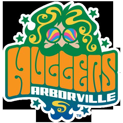 Huggers hippie logo.