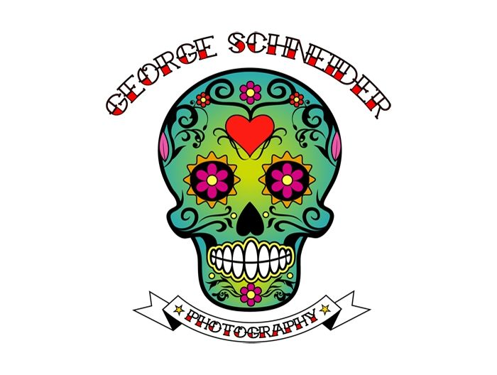 Cool looking George Schneider skull. A bit of a hippy logo.