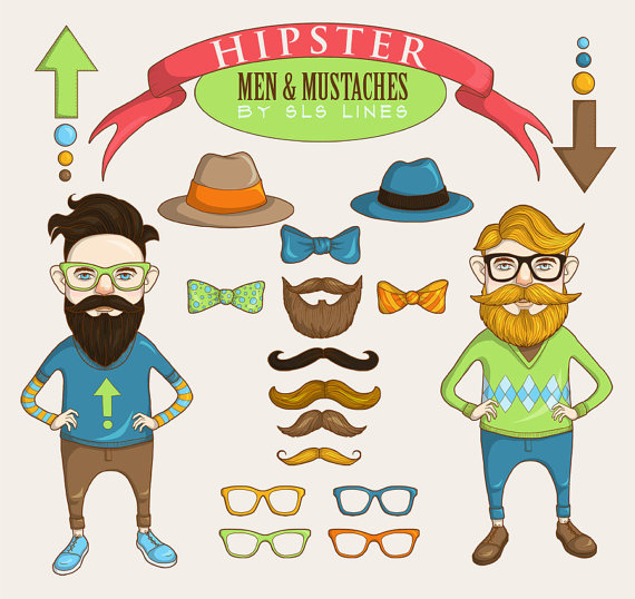 Hipster clipart funky men clip art moustache beard and by SLSLines.