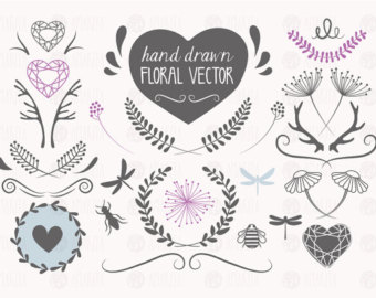 Hipster Peony Clipart.