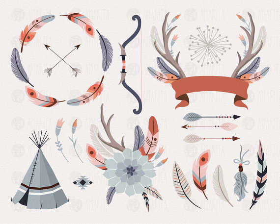Tribal clip art, Feather, American Indian, Hipster Clip Art.