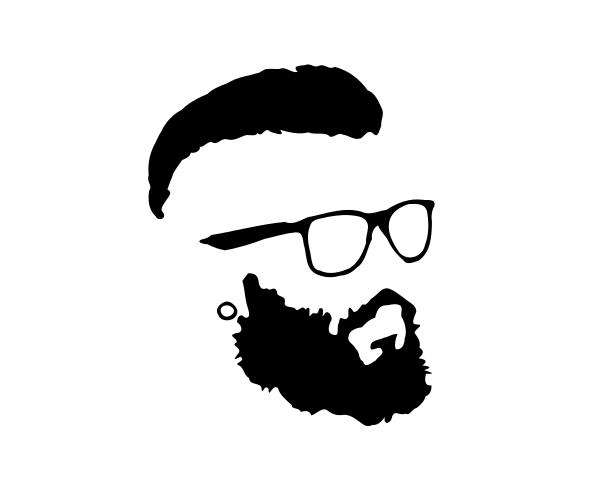 Hipster Beard and Glasses Silhouette Vector (EPS, SVG, PNG.