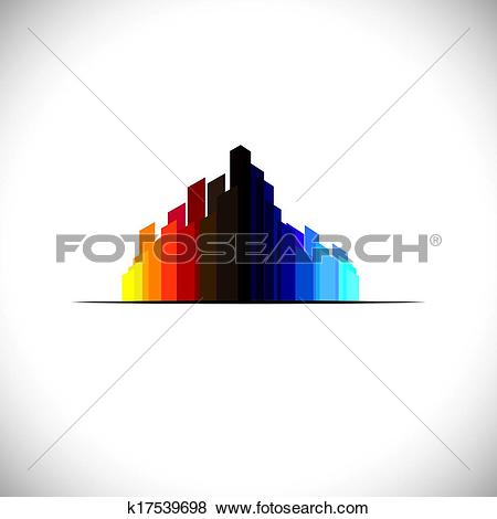 Clip Art of Colorful city downtown icon of tall commercial.
