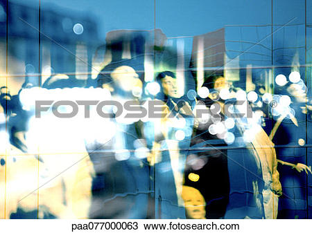 Stock Photo of People looking up, superimposed on reflection of.