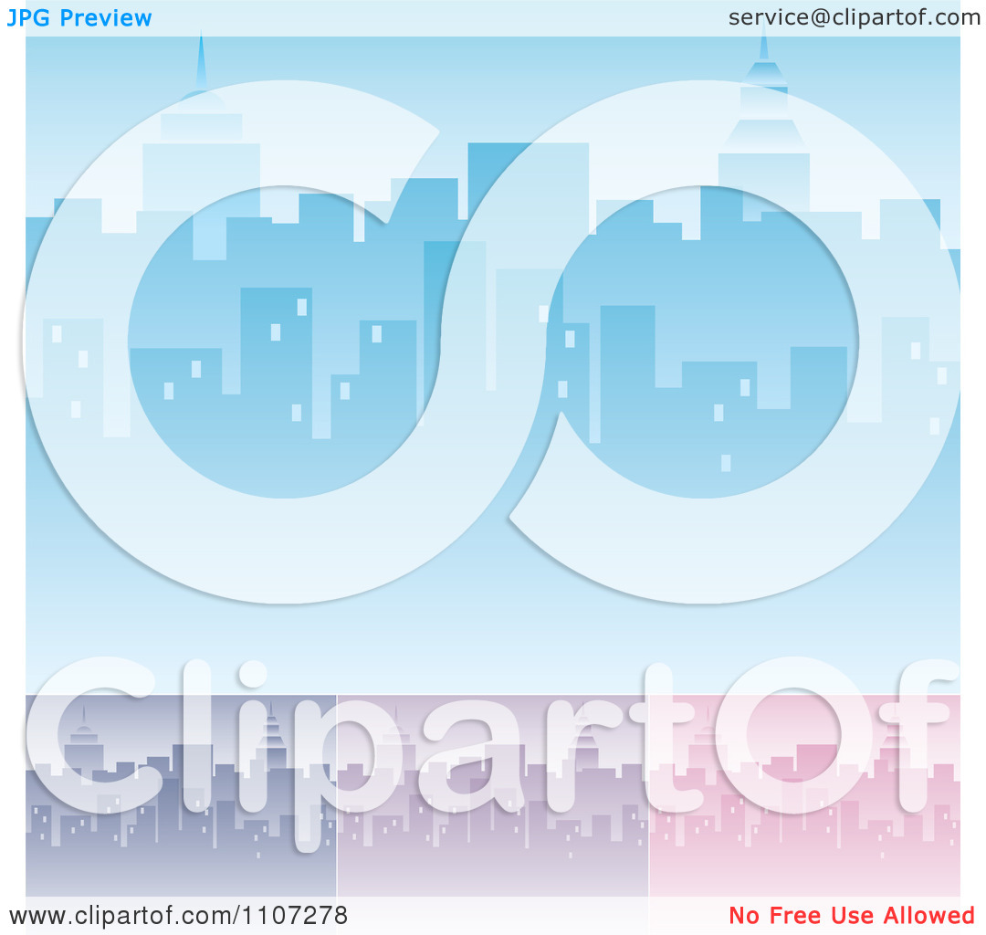 Clipart Blue Purple And Pink City Skyline Backgrounds With.