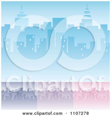 Clipart Blue City Skyline Background With Highrises And.