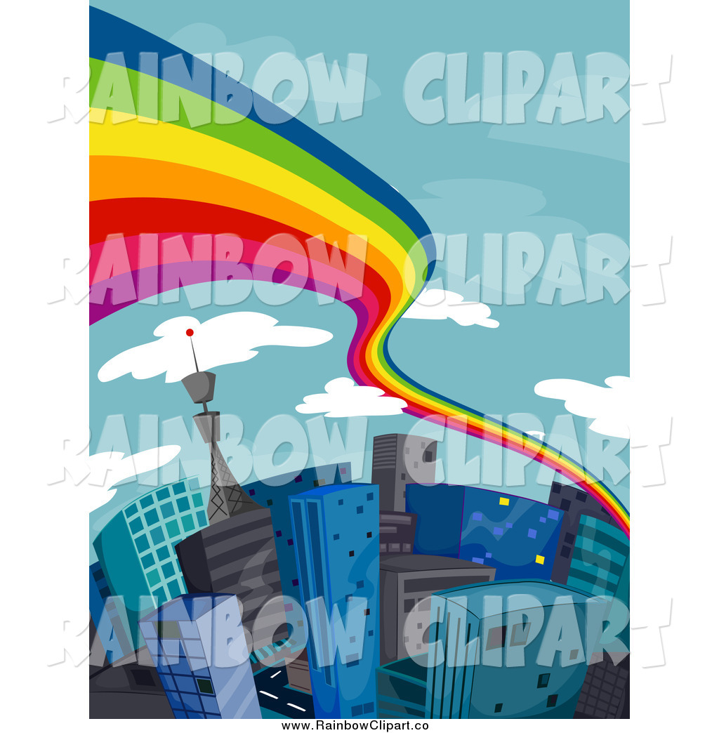 Royalty Free Stock Rainbow Designs of Highrises.