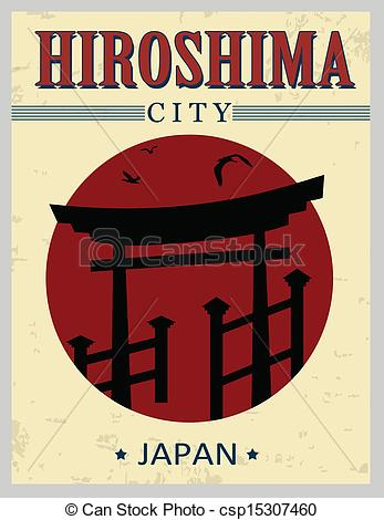 Clip Art Vector of Torii gate from Hiroshima poster.