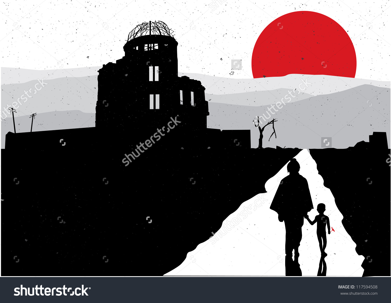 Silhouette Of Mother And Son At Hiroshima Stock Vector.