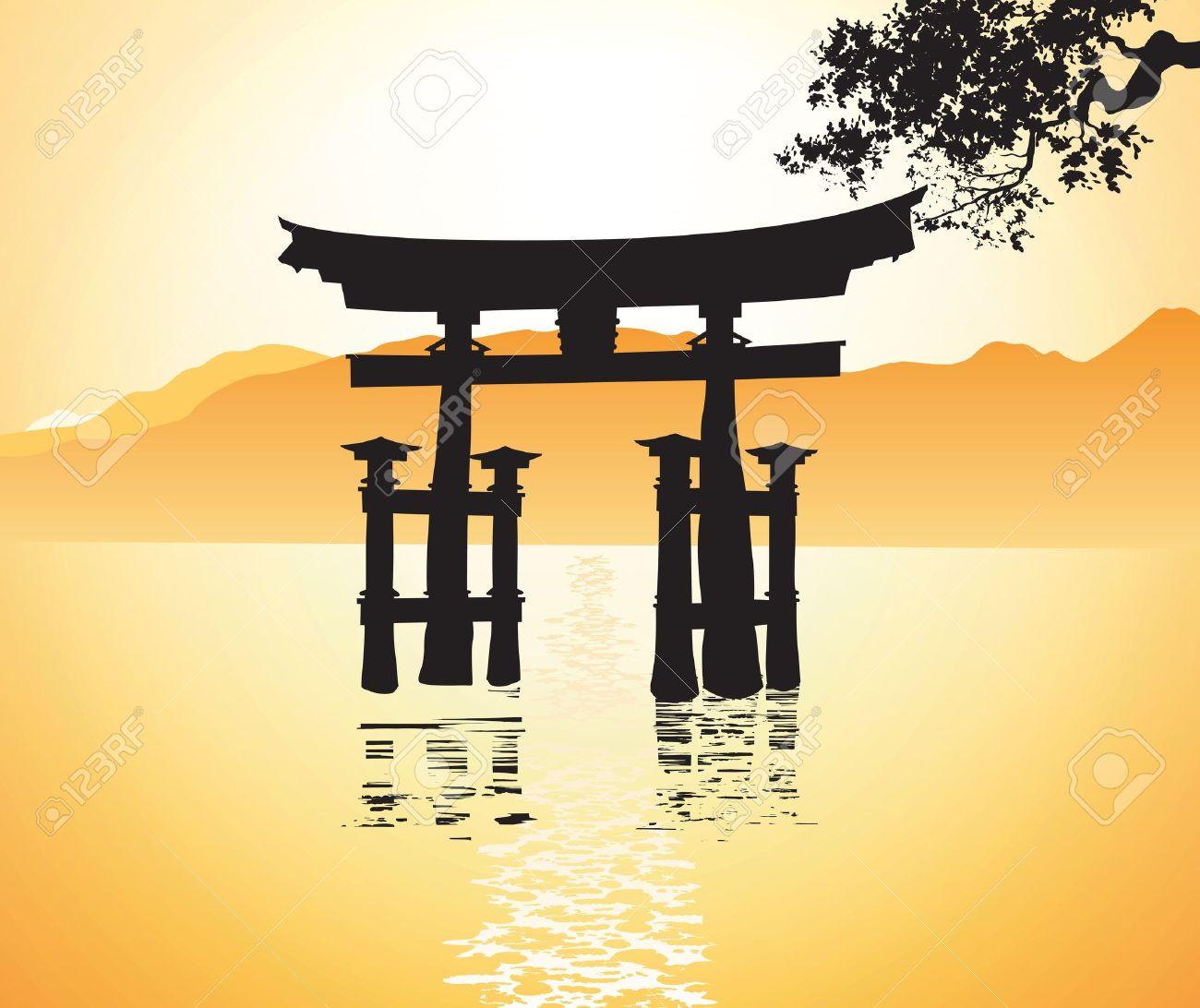 Miyajima Porte à Hiroshima Clip Art Libres De Droits , Vecteurs Et.