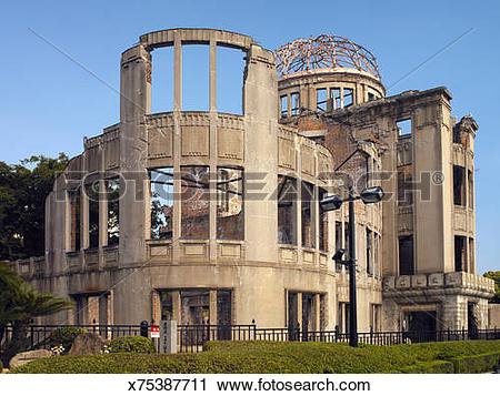 Stock Photography of Genbaku Dome or Hiroshima Peace Memorial.