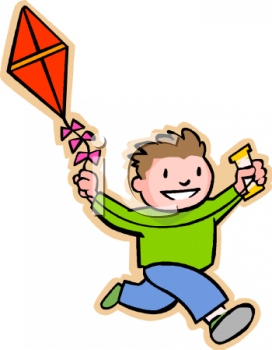 Clip Art Illustration of a Boy Running Flying His Kite. The Boy Is.