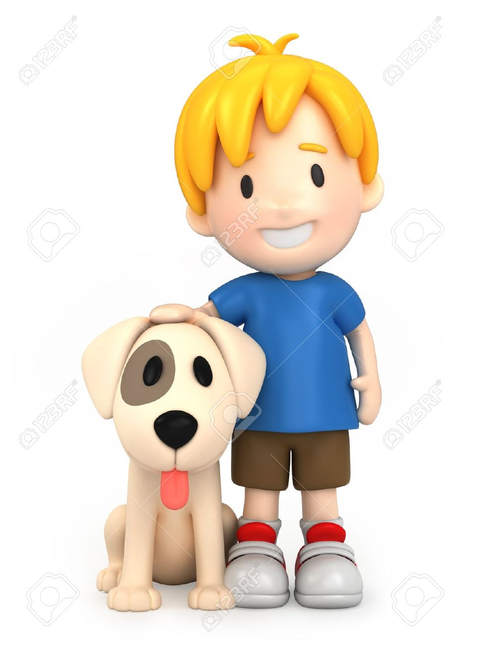 Clipart boy and dog.
