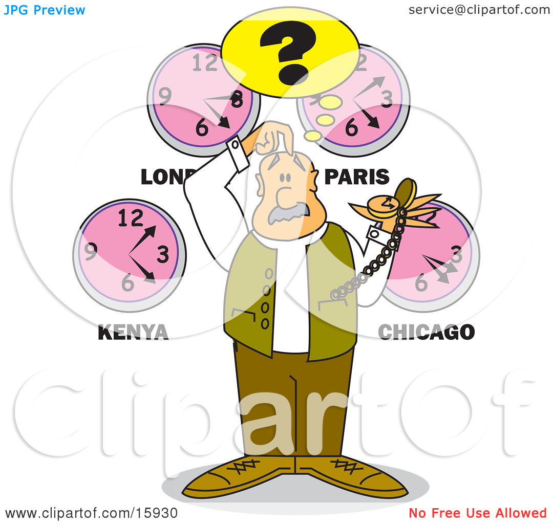 Confused Man Holding A Pocketwatch, Scratching His Head And.