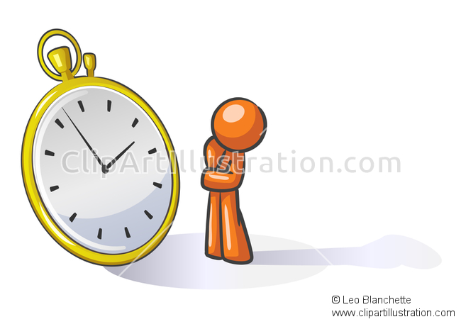 ClipArt Illustration of Orange Man Watching Time or Planning His.