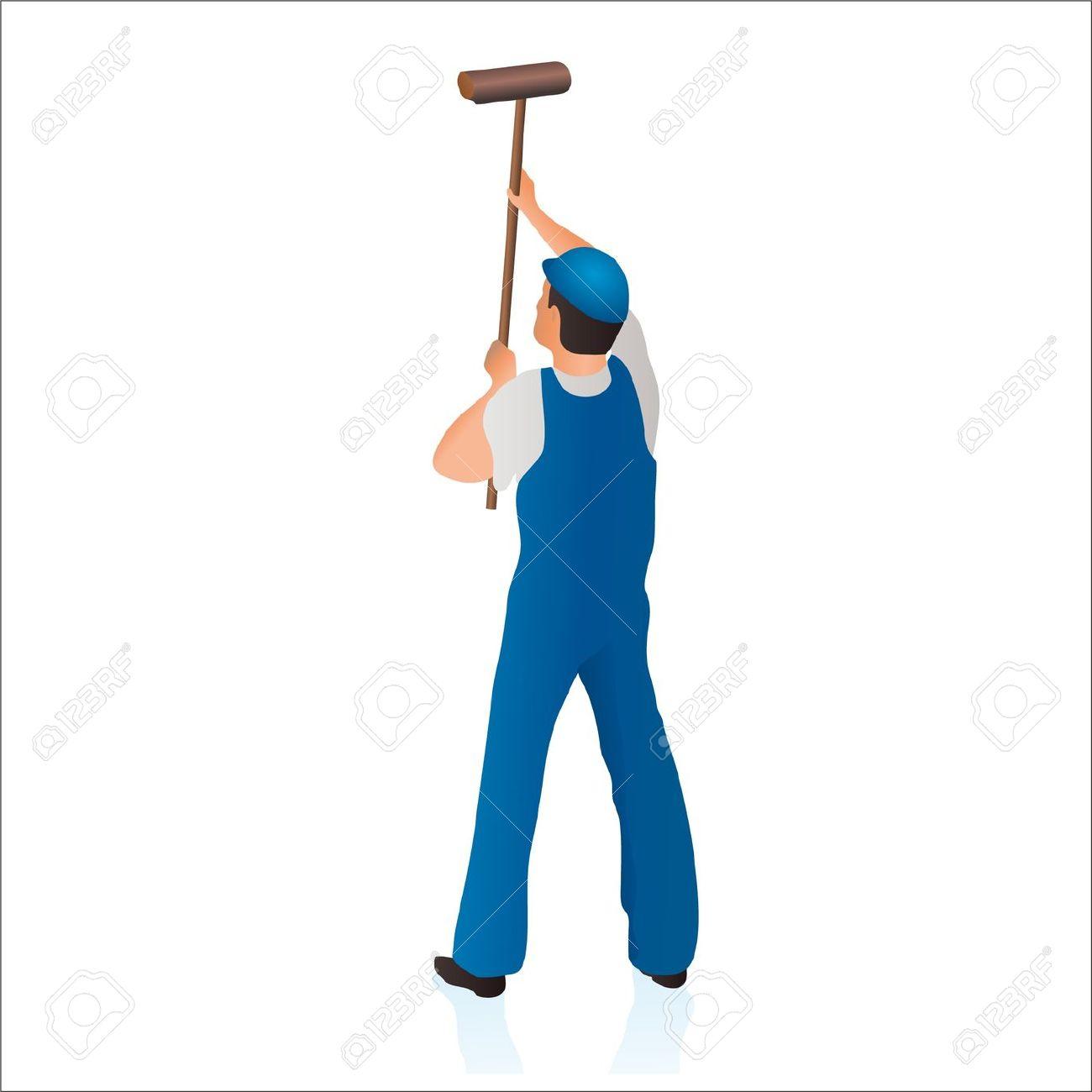 Limpiador Profesional De Limpiar La Pared Con Un Hisopo.