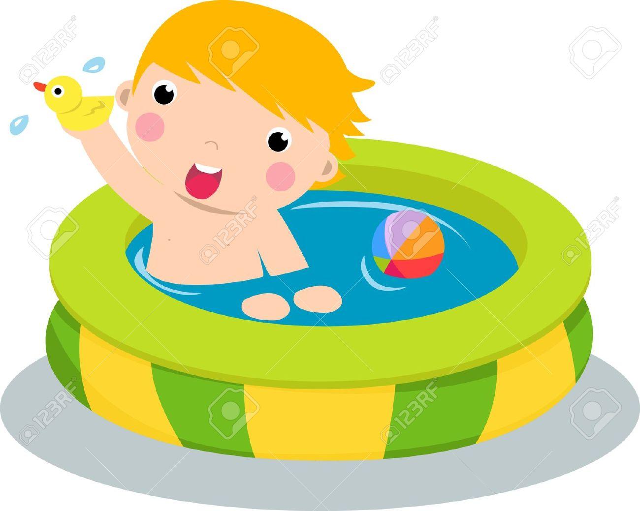 Hispanic Boy Pool Swim Clipart.