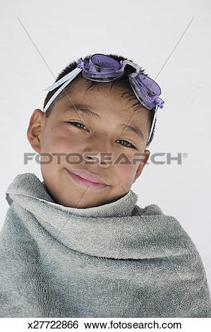 Stock Images of Young Mexican boy at swimming pool x27722866.