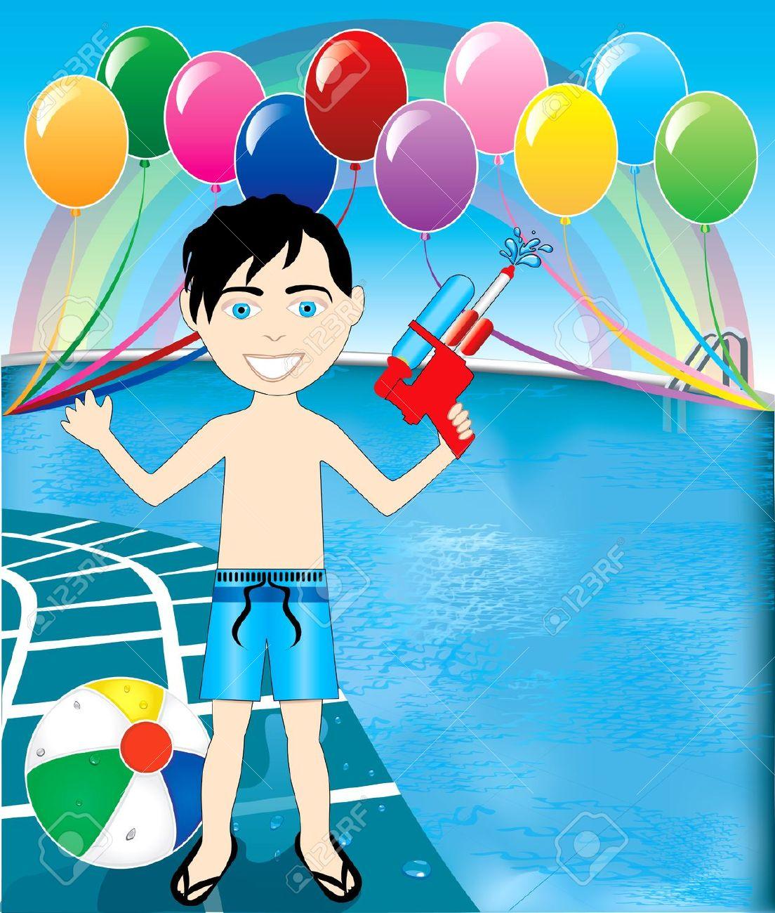 Hispanic Hair Boy Pool Swim Clipart.