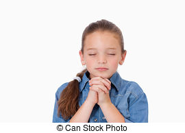 Stock Image of Little Girl Praying.