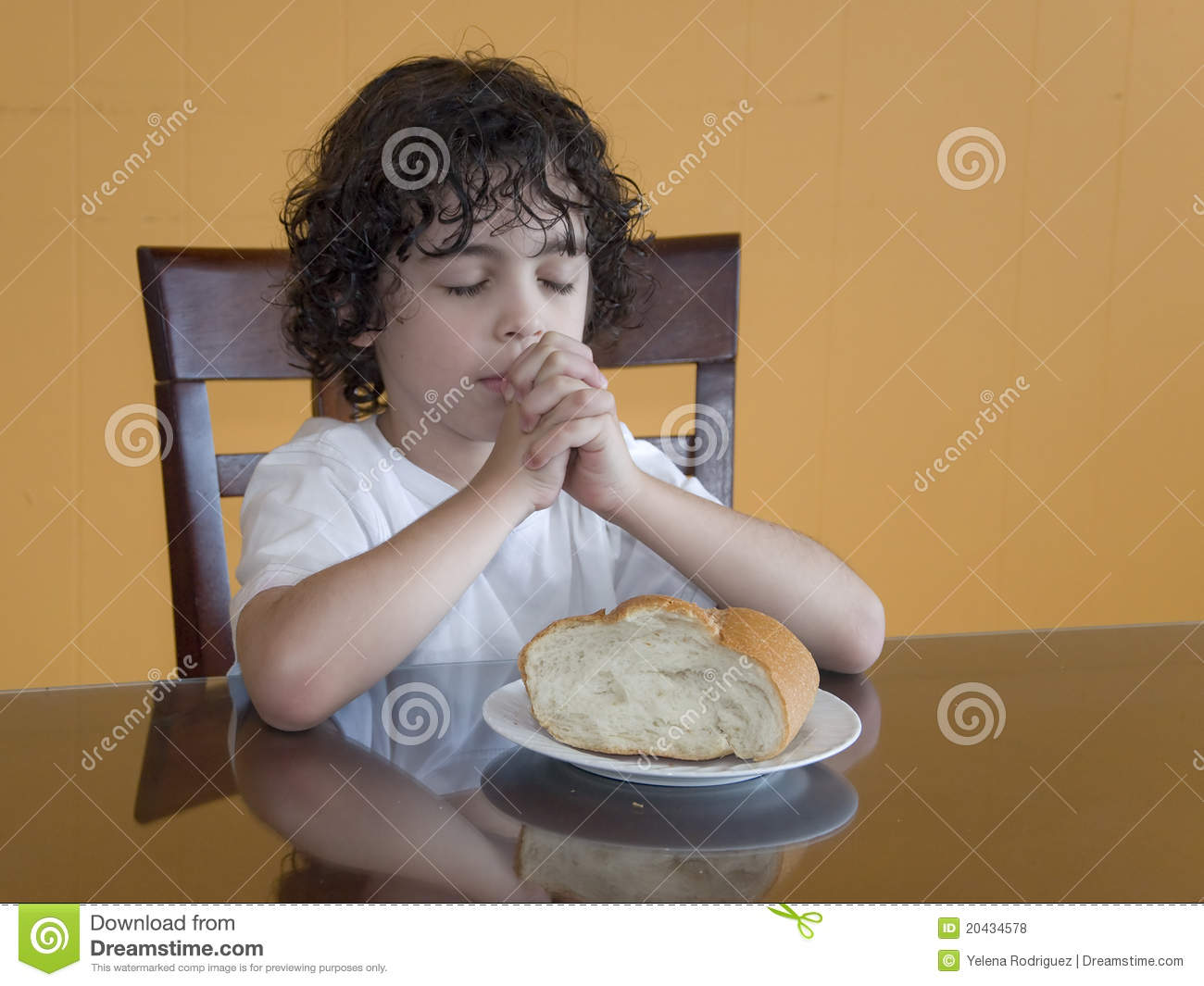 Young Latin Boy Praying Stock Images.