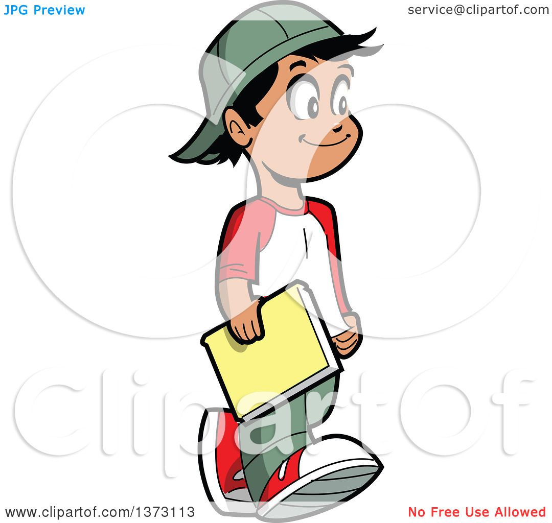 Clipart Of A Happy Casual Hispanic Boy Walking And Carrying a Book.