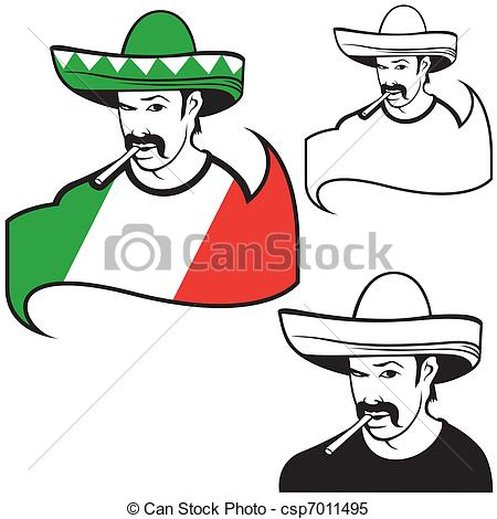 Clipart Vector of Mexican man.