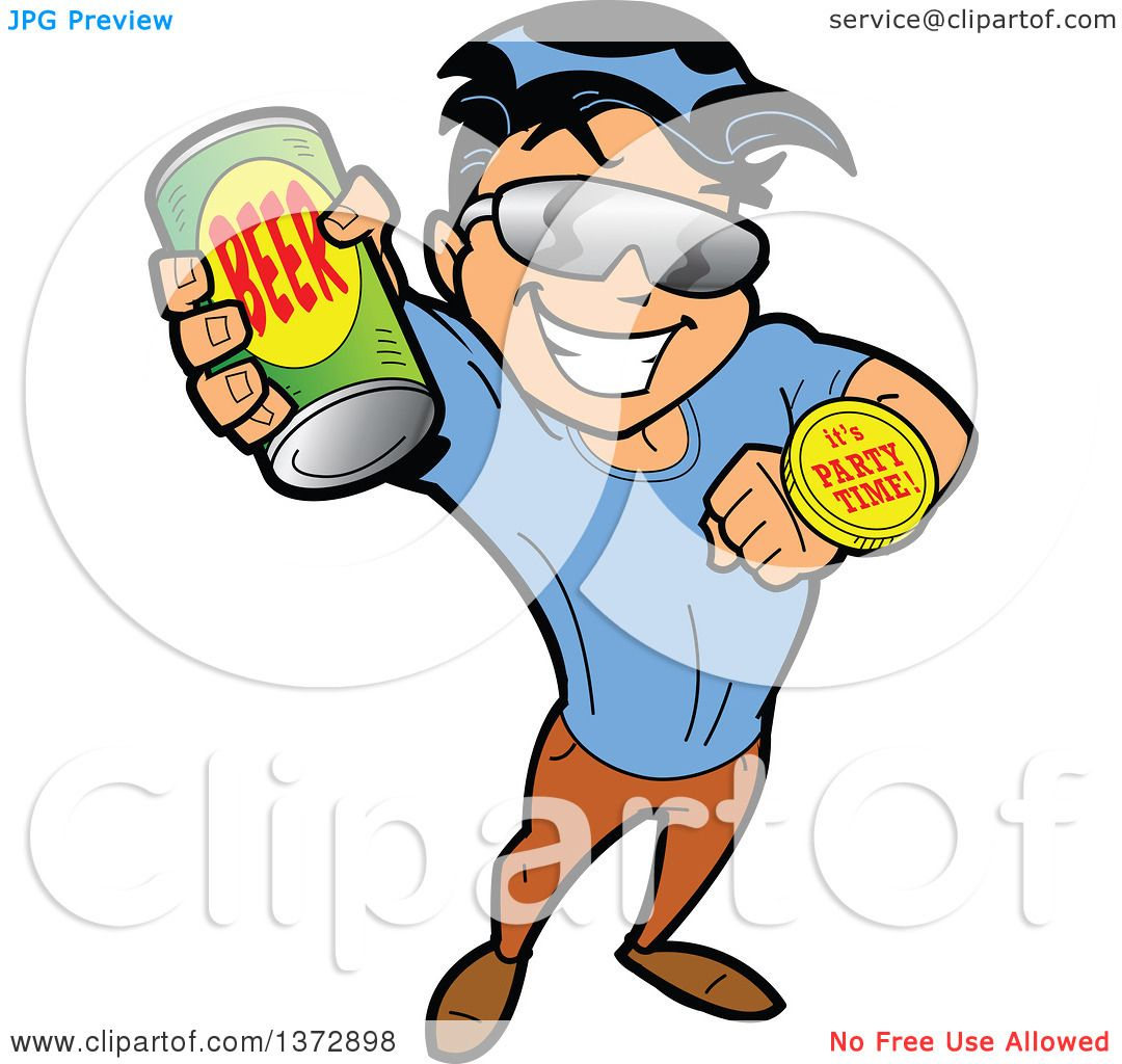 Clipart Of A Hispanic Man Holding up a Beer Can and Ready to Party.
